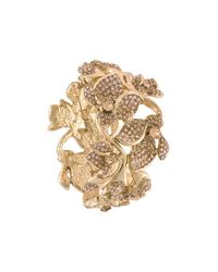 Oscar de la Renta | Metallic Embellished Flower Bracelet | Lyst