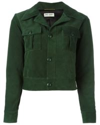 Saint Laurent - Green Cropped Suede Jacket - Lyst