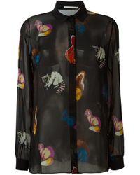 Marco De Vincenzo - Black Animal Print Sheer Shirt - Lyst