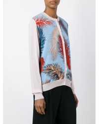 Emilio Pucci Pink Feather Print Cardigan