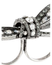 Lanvin - Metallic Embellished Bow Double Ring - Lyst