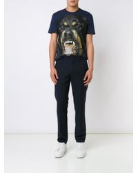 Givenchy - Blue Rottweiler Print T-shirt for Men - Lyst