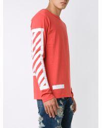 Off-White c/o Virgil Abloh - Red Striped Logo T-shirt for Men - Lyst