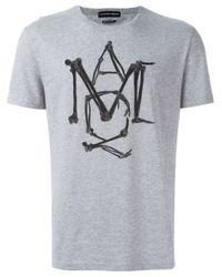 Alexander McQueen Gray Amq Bone T-shirt for men