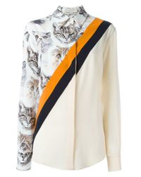 Stella McCartney Multicolor Cat Print Stripe Shirt