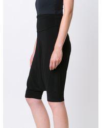 Norma Kamali Black Drop-crotch Shorts