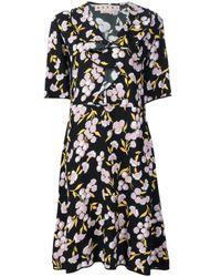 Marni | Black Ruffled Floral Print Dress | Lyst