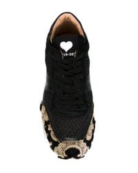Twin Set Black Textured Leather Sneakers