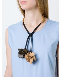Marni - Brown Flower Charm Necklace - Lyst