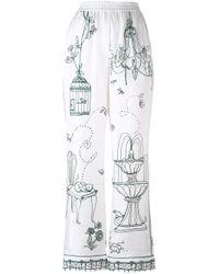 Dolce & Gabbana | White - Garden Print Pyjama Pants - Women - Silk - 42 | Lyst