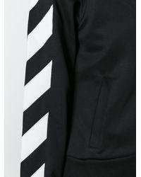 Off-White c/o Virgil Abloh Black Striped Sleeved Zipped Sweatshirt