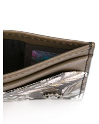 Roberto Cavalli Brown Feather Print Wallet for men