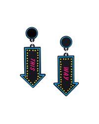 Yazbukey - Black Arrow Pendant Earrings - Lyst