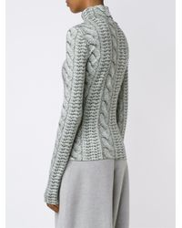Christian Siriano | Gray Cable Knit Printed Roll Neck Top | Lyst