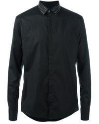 Les Hommes | Black Studded Collar Shirt for Men | Lyst