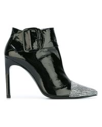 Stuart Weitzman Black Stiletto Leather Ankle Boots