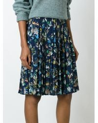 Tory Burch | Blue Kamille Printed Pleated Skirt | Lyst