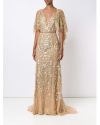 Marchesa Multicolor Embroidered Flower Gown