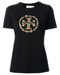 Tory Burch Black Embroidered Logo T-shirt