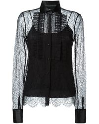 Ermanno Scervino | Black Semi Sheer Lace Blouse | Lyst