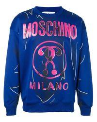 Moschino Blue Trompe-l'oeil Logo Sweatshirt for men
