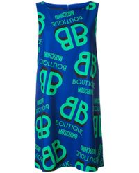 Boutique Moschino | Blue Logo Print Shift Dress | Lyst