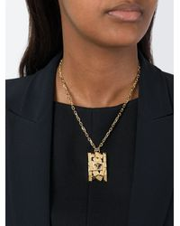 Versace - Metallic 'cubic Medusa' Pendant Necklace - Lyst
