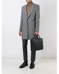 Emporio Armani Black Grained Leather Briefcase for men