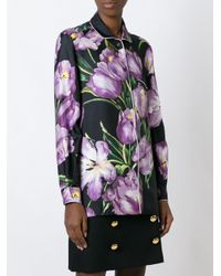 Dolce & Gabbana | Multicolor Printed Silk Blouse | Lyst