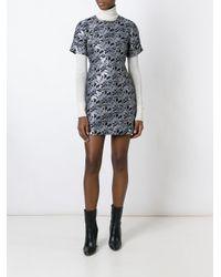 MSGM - Black Floral Jacquard Dress - Lyst