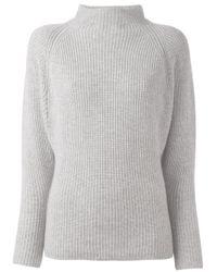 Polo Ralph Lauren | Gray - High Neck Ribbed Jumper - Women - Cashmere/wool - Xs | Lyst