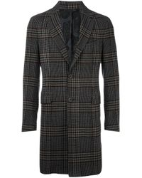 Etro | Gray Cashmere Checked Coat for Men | Lyst