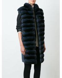 Manzoni 24 - Blue Panelled Fur Coat - Lyst