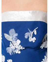 Carolina Herrera - Blue Embellished Strapless Gown - Lyst