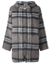 P.A.R.O.S.H. | Gray Checked Hooded Zipped Coat | Lyst