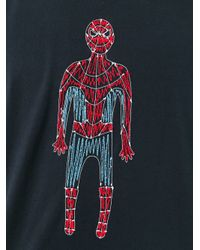 Jimi Roos Black Embroidered Spiderman T-shirt for men