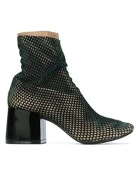 MM6 by Maison Martin Margiela Green Mesh-Layered Leather Ankle Boots