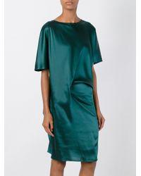 Ann Demeulemeester Green Shortsleeved Silk Dress
