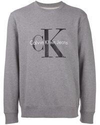Calvin Klein Jeans | Gray Logo Print Crew Neck Sweatshirt for Men | Lyst