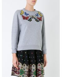 Alexander McQueen - Gray Embellished Butterfly Swetshirt - Lyst