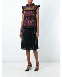 Fendi - Black Floral Embroidered Blouse - Lyst