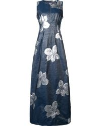 SUNO - Gray Floral Jacquard Silk and Wool-Blend Zip Dress - Lyst
