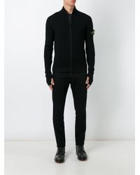 Stone Island Black Ribbed Cardigan for men