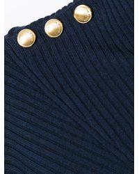 Rag & Bone Blue Reanna Asymmetric Ribbed Woo-blend Top