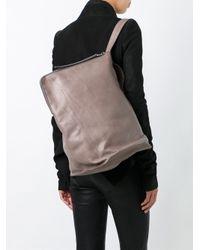 Rick Owens Gray Sac Leather Shoulder Bag