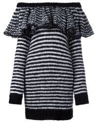 Philosophy Di Lorenzo Serafini - Black Striped Ruffle Off Shoulder Dress - Lyst
