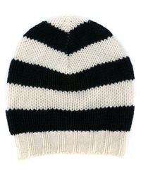 Ermanno Scervino - Black Striped Knit Beanie - Lyst