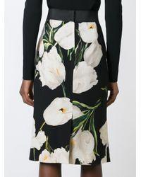 Dolce & Gabbana Black Printed Wool Skirt