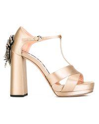 Rochas | Natural Embellished Satin Sandals | Lyst