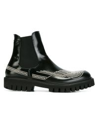 Les Hommes | Black Studded Chelsea Boots for Men | Lyst